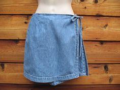 Vintage 90's The Limited Skirt Skort 4 Denim Wrap Short Zip Front #TheLimited #WrapSkort