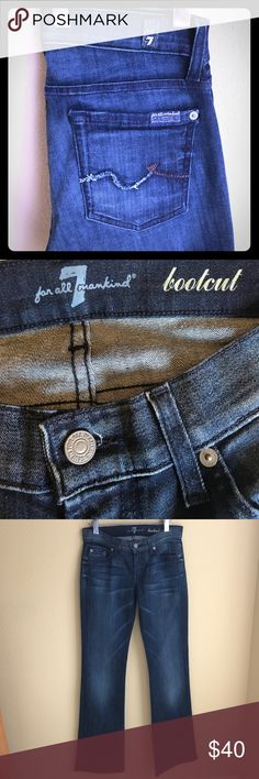 """7 for all mankind bootcut jeans Excellent condition! Inseam is 33"""". Waist measured laying flat across the front is 14.5"""" size 26 (2) 7 For All Mankind Jeans Boot Cut"""