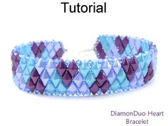 Beaded DiamonDuo Diamond Duo Two-Hole Beads Heart Valentines Bracelet Beading Pattern Tutorial by Cara Landry with Simple Bead Patterns | Simple Bead Patterns