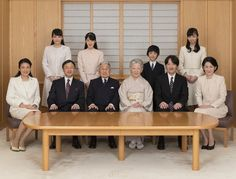 Newmyroyals:  Imperial Family of Japan-photo taken to mark New Year's 2017, January 1, 2017-l-r seated Crown Princess Masako, Crown Prince Naruhito, Emperor Akihito, Empress Michiko, Prince Fumihito and Princess Kiko; standing l-r Princess Mako, Princess Aiko, Prince Hisahito, and Princess Kako