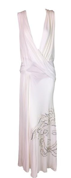 13d8c644f79 F W 1999 Atelier Versace Sheer White Plunging Beaded Medusa Gown Dress