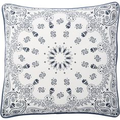 Complete the look of your couch with this Andrew Charles Bandana skull print Throw Pillow. The blue and white colors will complement your home decor while adding extra style to your sofa, chair or bed. This pillow is crafted of cotton.