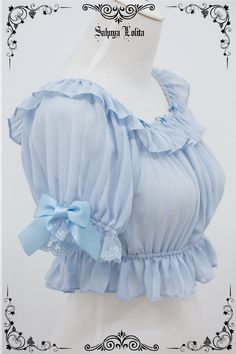 Shimotsuki Sakuya -The Whisper of Stars- Lolita Blouse Short Version - Round 4 Preorder Saree Jacket Designs, Stylish Blouse Design, Fancy Blouse Designs, Bridal Blouse Designs, Blouse Neck Designs, Sleeves Designs For Dresses, Sleeve Designs, Outfits Kawaii, Fashion Moda