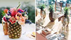 centre de table ananas mariage tropical