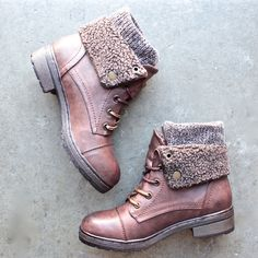 leather sweater knit cuff boots - 4 colors