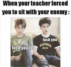 Quand le prof te force à t'asseoir avec ton ennemi :