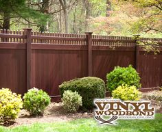 V3700-6 Grand Illusions Vinyl WoodBond Mahogany (W101) T&G Vinyl Privacy Fence with Straight Top Classic Victorian Picket Topper. Looks like real wood and never needs any touch-ups!