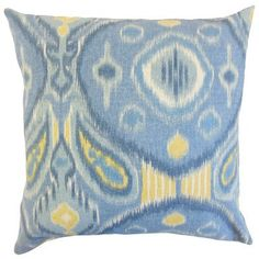 The Pillow Collection Janvier Ikat Linen Throw Pillow Color: