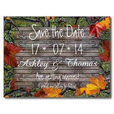 Save the Date Camo Rustic Wood Fall Leaves Wedding Postcards