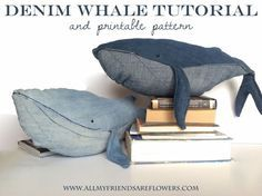 Recycled Blue Jean Whale. Free printable pattern at link. *could be fun to incorporate patchwork or embroidery stitches