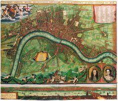 17th Century Antique London Street Map