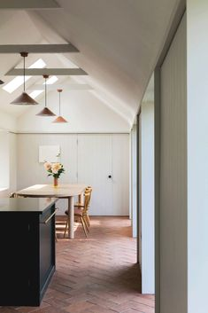 Brick Floor Kitchen, Kitchen Flooring, Steel Frame Doors, Roof Beam, Terracotta Floor, House Extension Design, Timber Panelling, Brick Flooring, Floors