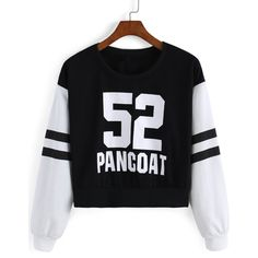 Letter Print Crop Sweatshirt ($9.90) ❤ liked on Polyvore featuring tops, hoodies, sweatshirts, black, long sleeve crop top, black sweat shirt, long sleeve pullover, black pullover sweatshirt y black top