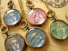 Old French posted stamps necklaces
