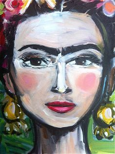 Frida Kahlo Print roses pretty portrait by DevinePaintings on Etsy