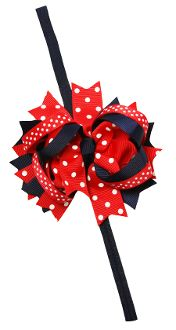 "4.5"" Polka Dot Grosgrain Boutique Bow Clip with Elastic Headband $3.99"
