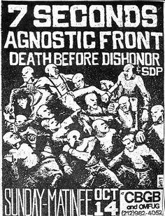 punk flyer, 7 Seconds, Agnostic Front, CBGBs
