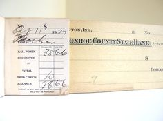 Vintage 1920's Checkbook for Altered Art Banking by bythewayside, $5.00
