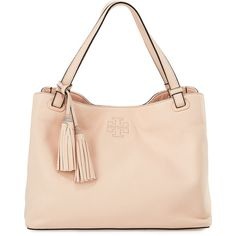 Tory Burch Thea Center-Zip Tote Bag w/ Tassels (780 BRL) ❤ liked on Polyvore featuring bags, handbags, tote bags, sweet melon, zip purse, tory burch handbags, zipper handbag, tory burch tote and tassel purse