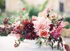 French Chateau Wedding Inspiration to Sweep You Off Your Feet Burgundy Wedding Flowers, Floral Wedding, Pink Flowers, Fall Wedding, Wedding Bells, Floral Centerpieces, Wedding Centerpieces, Wedding Bouquets, Flower Bouquets