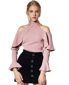 Ruffles Halter Off Shoulder Flare Chiffon Blouse