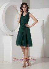 Cheap Olive A-Line / Princess V-neck Mini-length Chiffon Ruched Prom Dress - US$89.37