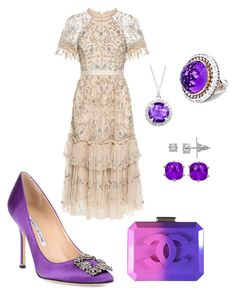 A fashion look from November 2017 featuring pink cocktail dress, pointy-toe pumps and pink clutches. Browse and shop related looks. Pink Cocktail Dress, Pink Clutch, Needle And Thread, Manolo Blahnik, Chanel, Fashion Looks, Formal Dresses, Purple, City