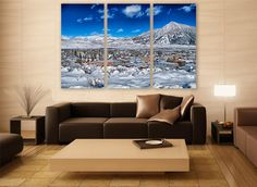 Colorado Snow Mountains Canvas Print 3 Panels Print Wall Decor Wall Art Nature Photography Art Print for Home and Office Wall Decoration by ZellartCo TAGS america landscape photography usa canvas print large canvas wall art colorado mountains water reflection wall decor room decor winter