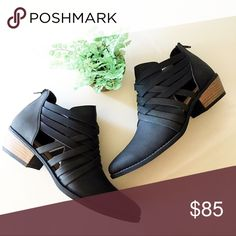 Strappy Black Ankle Bootie With Low Heel Strappy black bootie with zip entry. Low heel. Clairity Clothing Shoes Ankle Boots & Booties