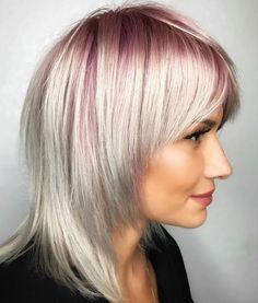 60 Most Universal Modern Shag Haircut Solutions - - White Blonde Hairstyle With Pastel Pink Roots Medium Shag Haircuts, Shaggy Haircuts, Haircuts For Fine Hair, Layered Haircuts, White Ombre Hair, Silver Ombre Hair, White Blonde, Medium Hair Styles, Short Hair Styles