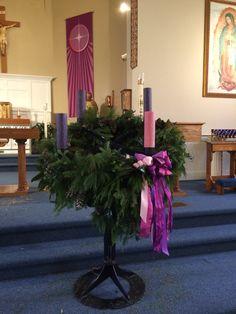 St John's advent wreath 2014 Church Altar Decorations, Church Christmas Decorations, Xmas Wreaths, Christmas Banners, Christmas Centerpieces, Catholic Advent Wreath, Advent Wreath Candles, Church Stage Design, Church Flowers