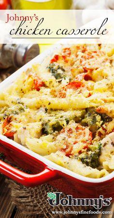 Chicken, broccoli, tomatoes, & pasta make for the perfect dinner! Chicken Casserole, Casserole Recipes, Pork Seasoning, Mozzerella, Broccoli Florets, Penne Pasta, Chicken Broccoli, Creamy Sauce, Cheese Sauce