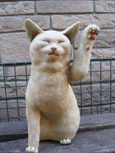 甲賀白粘土の招き猫 : あんにゅいん 陶芸猫さん