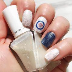 Winnipeg Whiteout Nails. Winnipeg Jets Nail Art. Winnipeg. White Nail Art. White-on-white nail art.