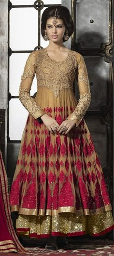 413811, Anarkali Suits, Georgette, Machine Embroidery, Cut Dana, Patch, Zari, Lace, Beige and Brown Color Family