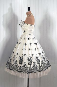 1950s Vintage Ethereal Shelf-Bust Ruffle Strapless Black and Ivory-White Flocked Floral-Garden Sheer-Chiffon Rockabilly Princess Circle-Skirt Wedding Party Prom Cocktail Dress