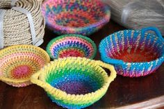 Woven baskets....try using pipe cleaners in place of rope...