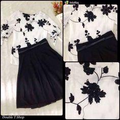 HÀNG NHẬP CAO CẤP- Set áo thêu hoa và chân váy xòe  kèm nịt 50105 3