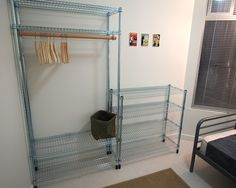 #IkeaHack #OMAR shelving unit becomes wardrobe for hanging clothes.