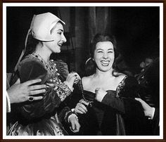 Maria Callas having a laugh with her good friend Giulietta Simionato after their epic performance of Anna Bolena