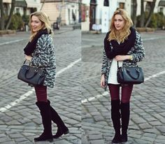 Long cardigan, long boots, maroon pants, scarf, handbag [LookBook]