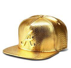 Atlanta Braves Gold Gator Skin Gold Logo Snapback Trendy Accessories c6d4d43268d1