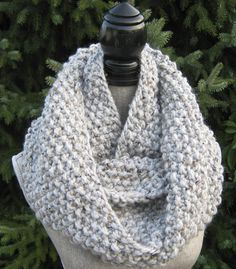 Women's Chunky Hand Knit Cowl   Wool Blend Knit  by SwaddleinCloth