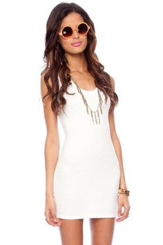 Rippled Sleeveless Shift Dress in White $40 at www.tobi.com