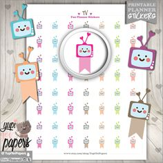 50%OFF - TV Stickers, Planner Stickers, TV Label, tv Flags, Use in Erin Condren, Planner Accessories, Printable Stickers, Stickers