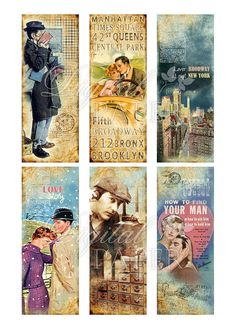 Love STORY bookmarks set of 6 bookmarks por bydigitalpaper