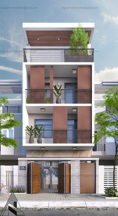 job on Behance 3 Storey House Design, Bungalow House Design, House Front Design, Modern House Facades, Modern Architecture House, Architecture Design, Narrow House Designs, Modern Small House Design, Home Building Design