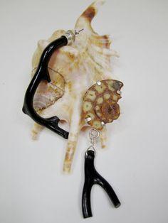Deep Sea  Black coral Ammonite earrings by Eilisain on Etsy, $85.00