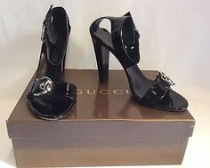 1adaedb1fa8 GUCCI BLACK PATENT BUCKLE TRIM STRAP HEELED SANDALS SIZE 7  40.5 - Whispers  Dress Agency