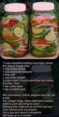 Fresh Pickled Cucumber Salad: Cucumber, Onion, Bell Pepper, Vinegar Found this on Facebook... Think I would add a few cloves of garlic and maybe cauliflower... Probably use less sugar too:
